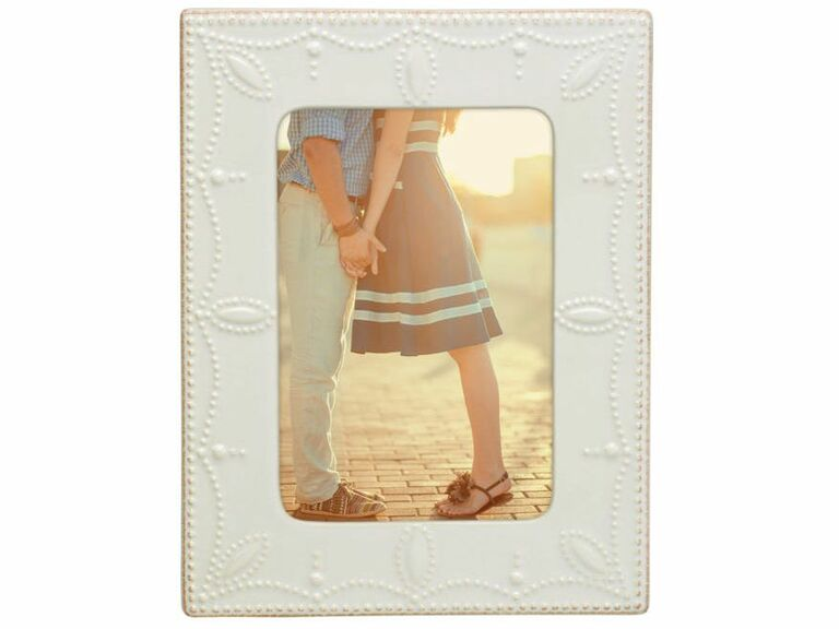 White wedding picture frame with dot and swirl detail