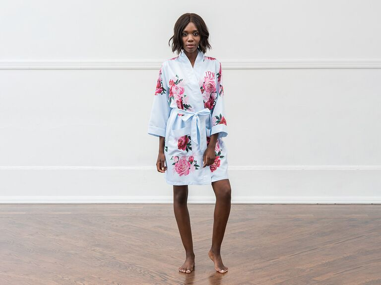 Soft floral robe for bridesmaids