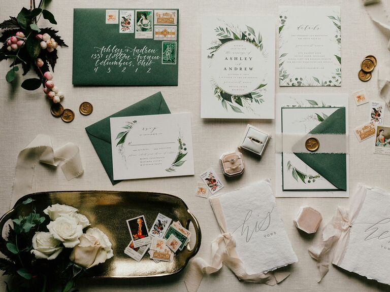 Cottagecore wedding invitation theme with floral accents