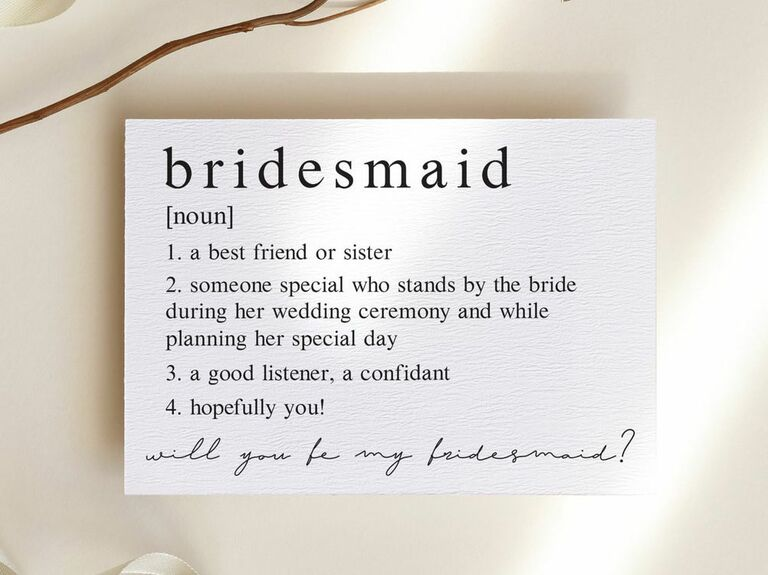 definition of bridesmaid proposal card