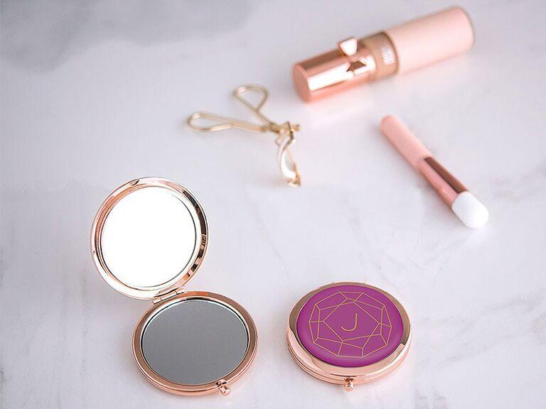 rose gold custom compact mirror