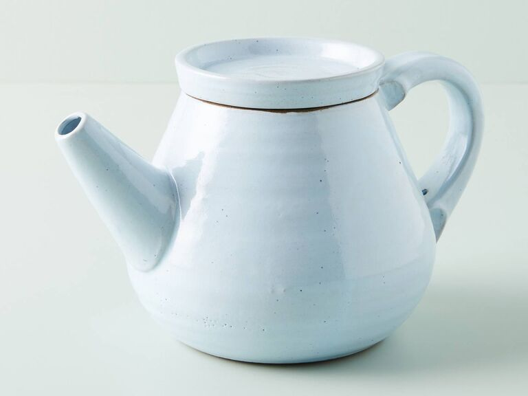 Light blue minimalist stoneware teapot gift for mother-in-law