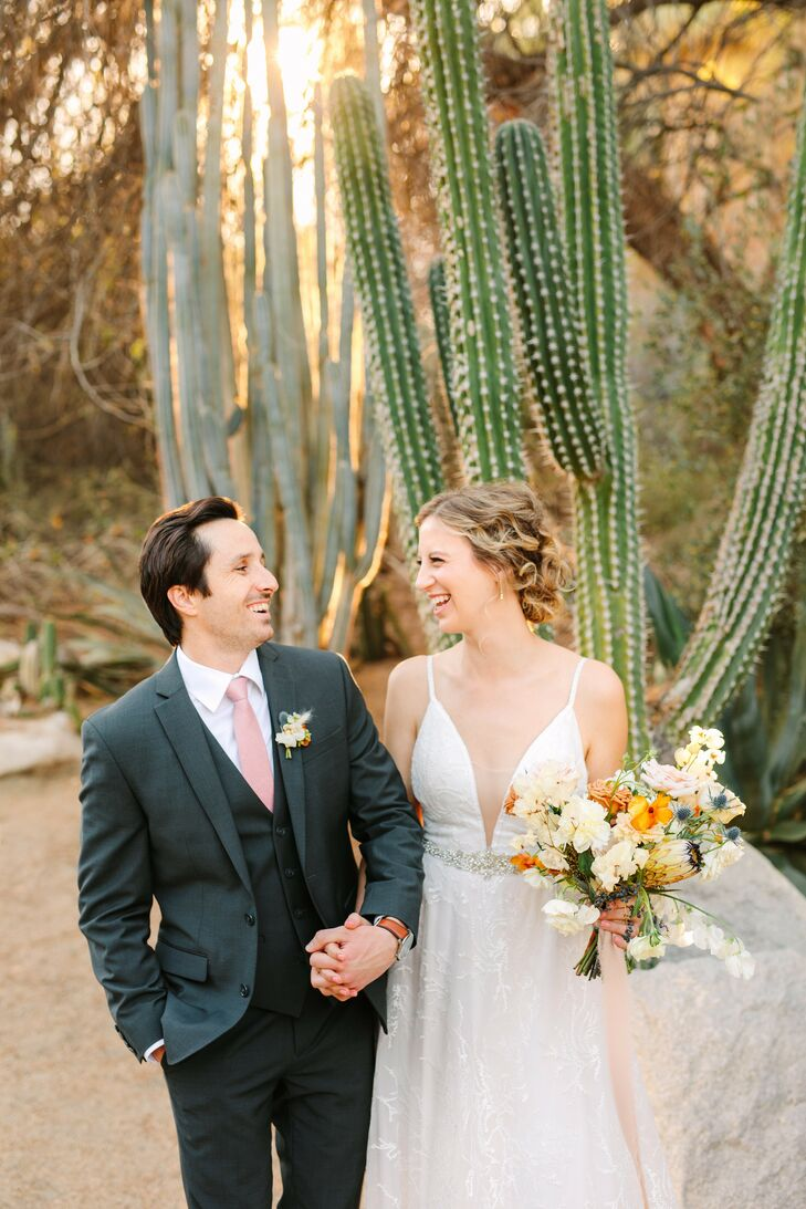 Couple Portrait in Front of Cactus at The Living Desert Zoo and Garden in Palm Desert, California
