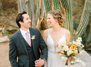 For their interfaith wedding in Palm Dessert, California, Haley and Brian let the area's natural beauty, especially the picturesque sunsets that blank
