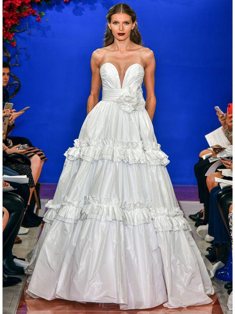 theia wedding dress strapless ball gown