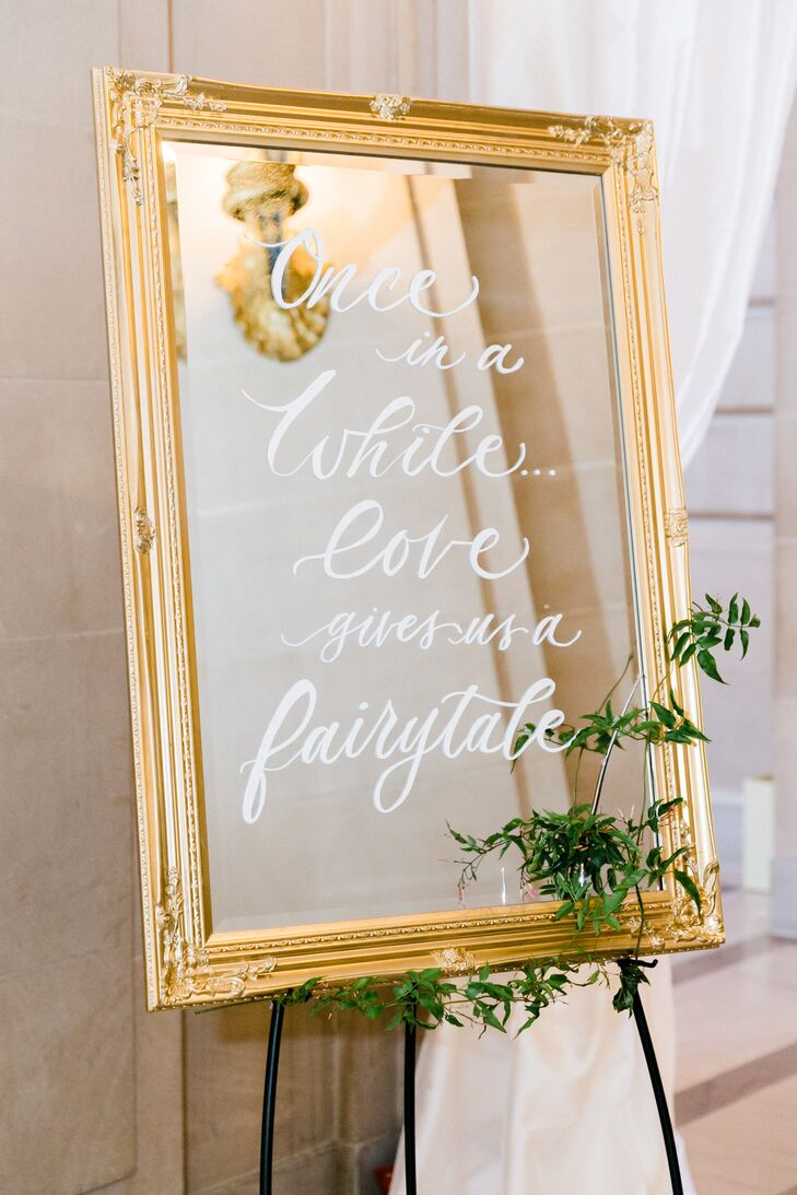 Hand-Lettered, Gold-Framed Mirror Welcome Sign
