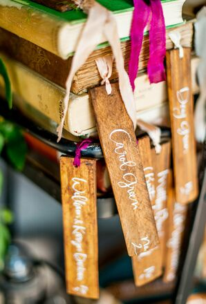 Wooden Bookmark Escort Cards With Calligraphy