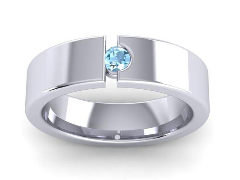 azeera men's round aquamarine engagement ring with platinum band