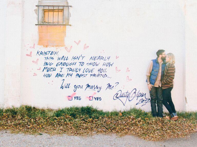 Graffiti outdoor marriage proposal