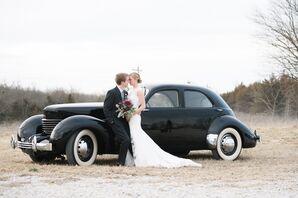 Bride and Groom with Vintage Car in Oskaloosa, Kansas
