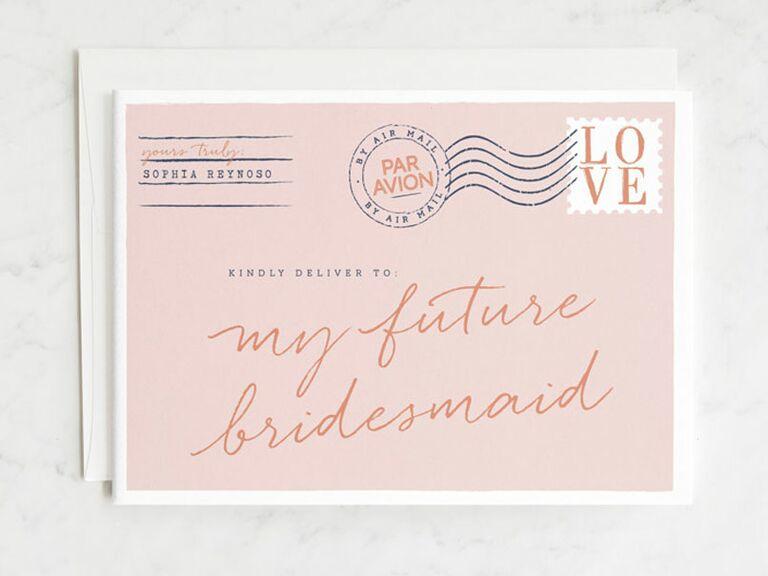 postcard bridesmaid proposal card