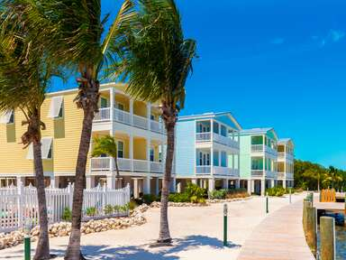Pastel houses on a Florida Keys waterfront