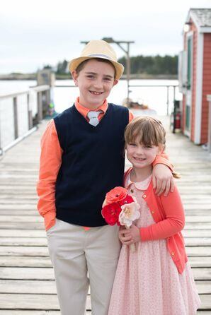 Casual Coral Flower Girl and Ring Bearer Outfits