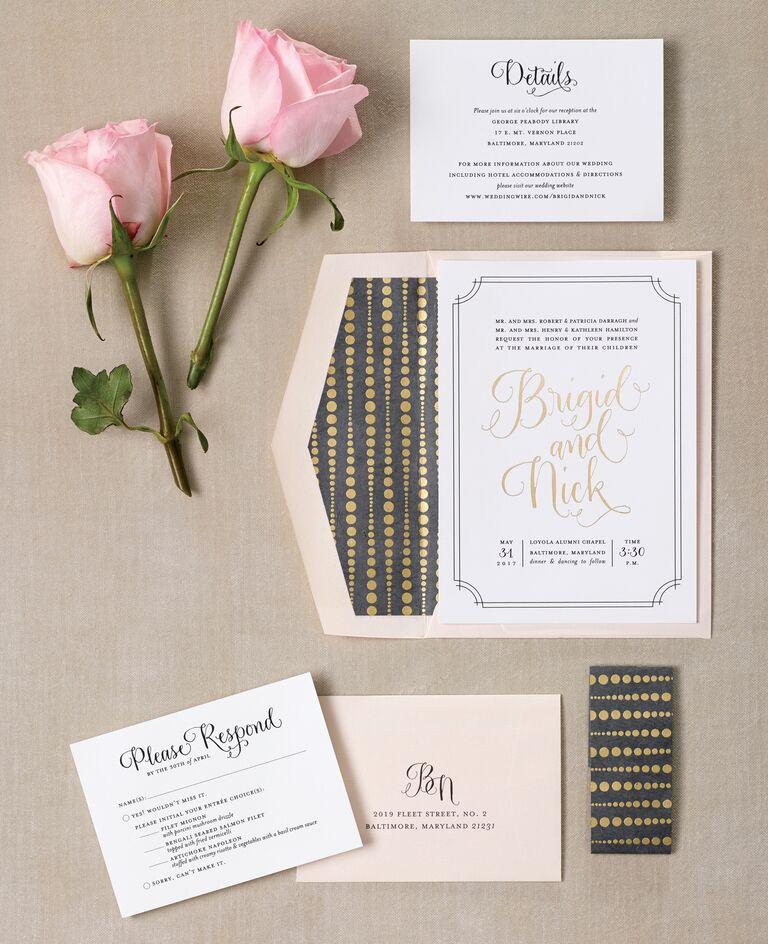 Classic gold foil wedding invitations