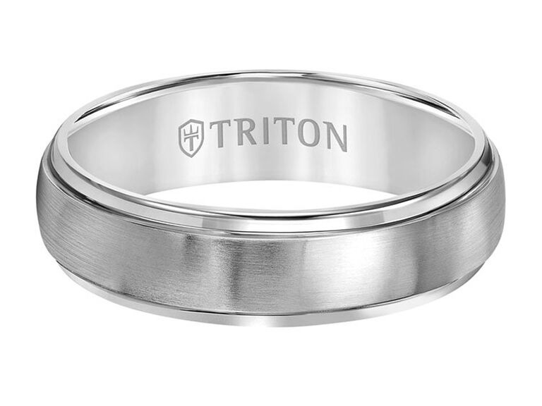 Triton 6-millimeter titanium ring with domed satin center and step edge