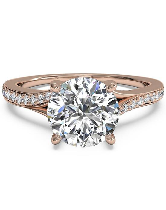 Ritani Modern Bypass Micropavé Diamond Band Engagement Ring - in 18kt Rose Gold - (0.19 CTW) for a Round Center Stone Engagement Ring photo