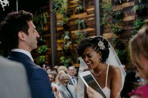 Bride Laughs During Wedding Vows at Brooklyn Wedding