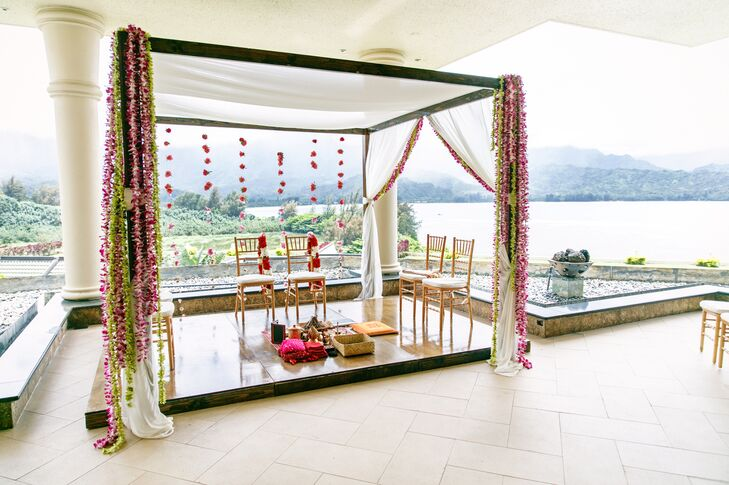 Waterfront Hindu Ceremony with Mandap and Hanging Flowers