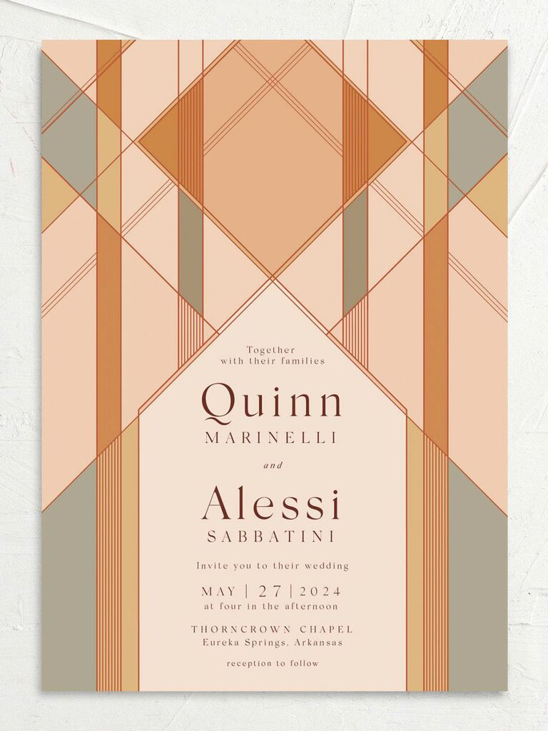 fall wedding invitation geometric