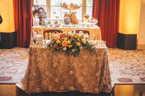 Gold Sweetheart Table, Lush Flower Centerpiece