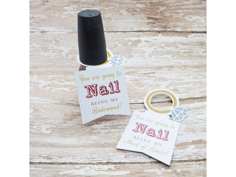 nail polish bridesmaid proposal gift tag