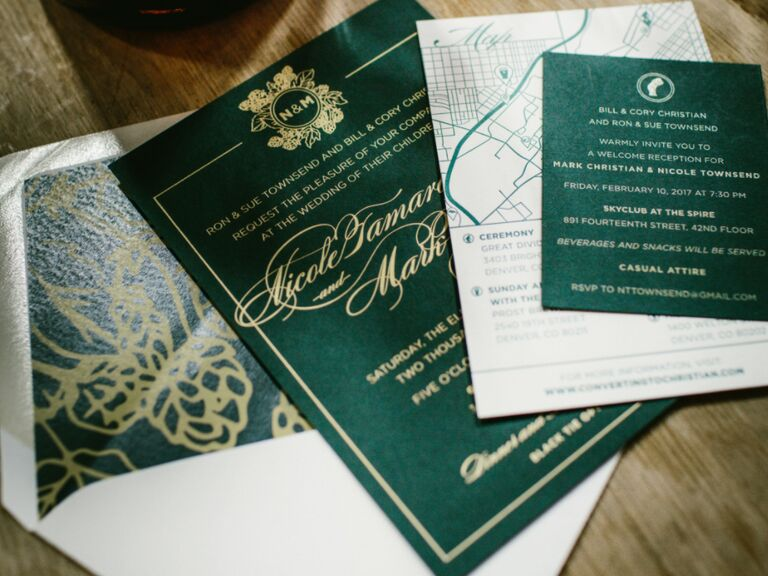 winter wedding ideas emerald and gold stationery
