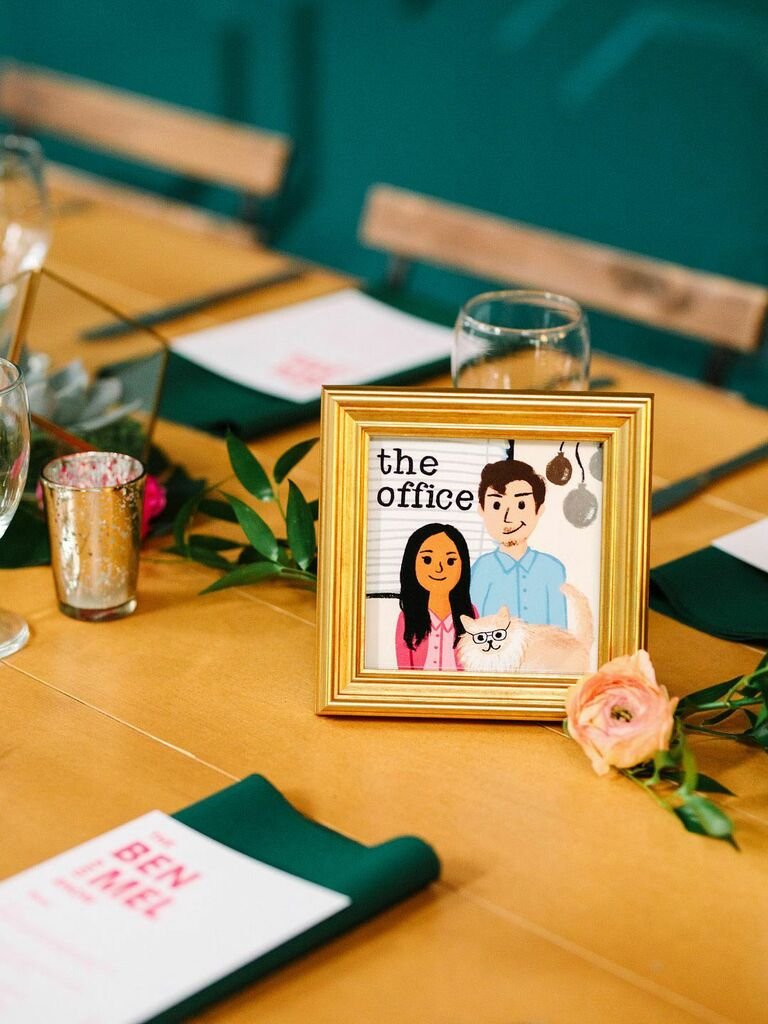 """""""The Office"""" inspired table numbers at wedding reception"""