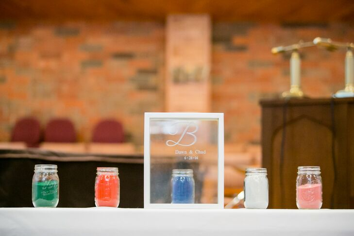 Dawn and Chad partook in a sand unity ceremony at their church union.