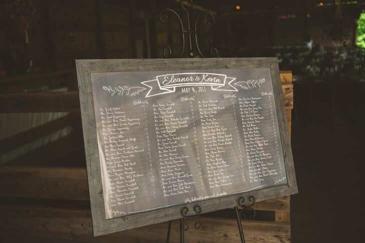 Intrigue Design Studio printed an escort card board poster to look like a chalk board, but without the mess.