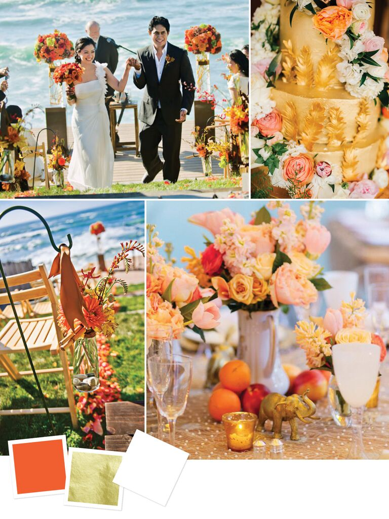 Late summer wedding color scheme of gold and marigold