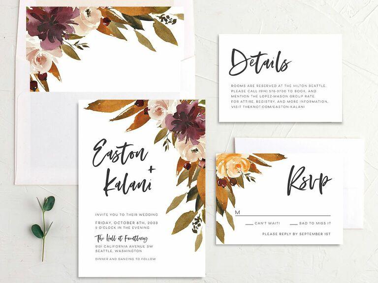 fall wedding invitation burgundy flowers