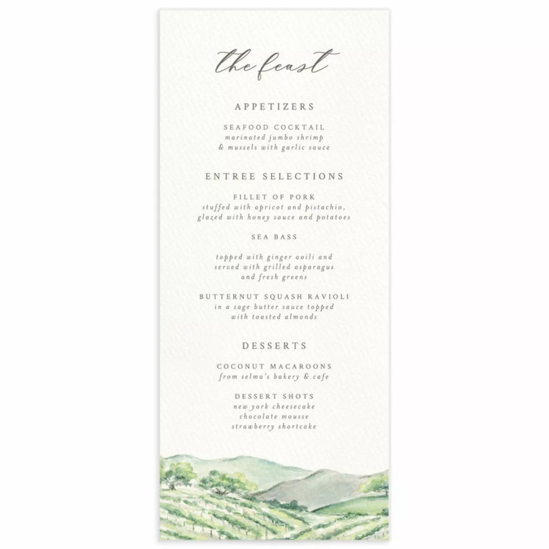Watercolor winery landscape on bottom border with 'the feast' in elegant calligraphy above menu items