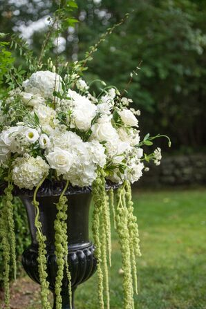 White Hydrangea and Rose Ceremony Flowers