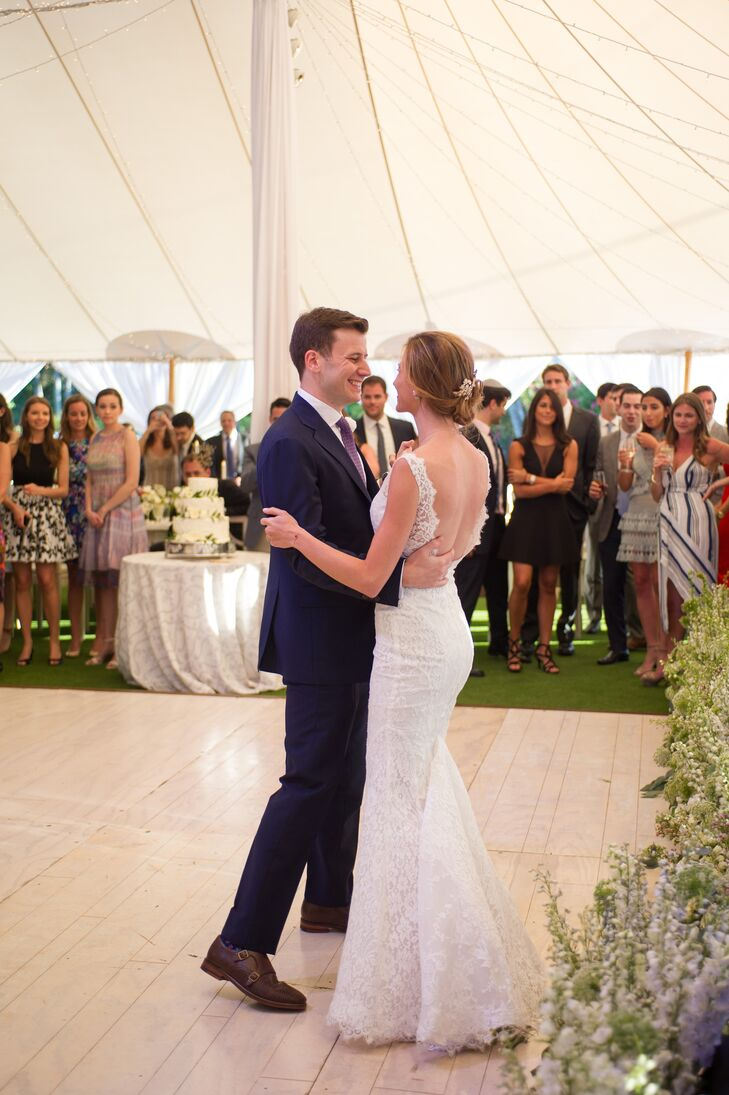 """Before the festivities got underway at Gasparilla Inn & Club in Boca Grande, Florida, Emily and Jason hit the dance floor, sharing their first dance to Coldplay's """"Green Eyes."""""""