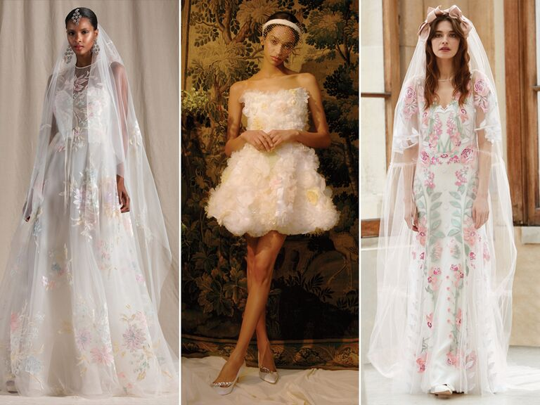 wedding dresses with colorful floral motifs