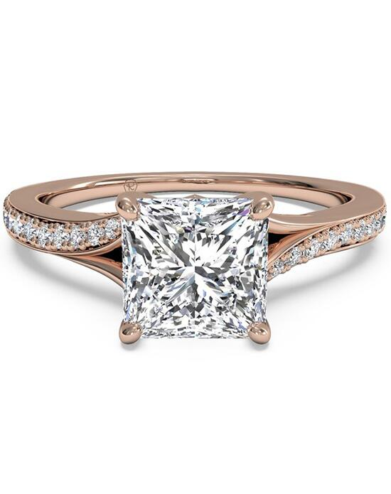 Ritani Bypass Micropavé Diamond Band Engagement Ring - in 18kt Rose Gold - (0.19 CTW) for a Princess Center Stone Engagement Ring photo