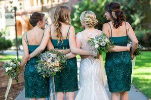 Dark Teal Textured Bridesmaid Dresses