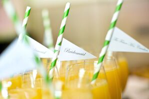 Green-Striped Cocktail Straws