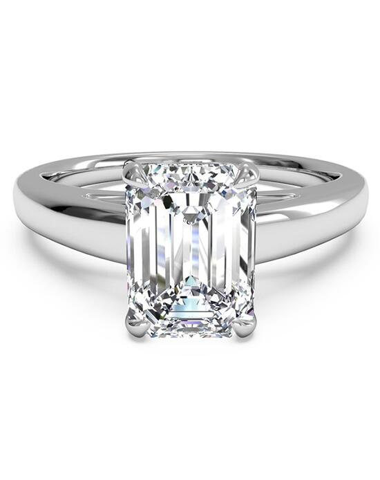 ring in 14kt white gold for a emerald center stone engagement ring