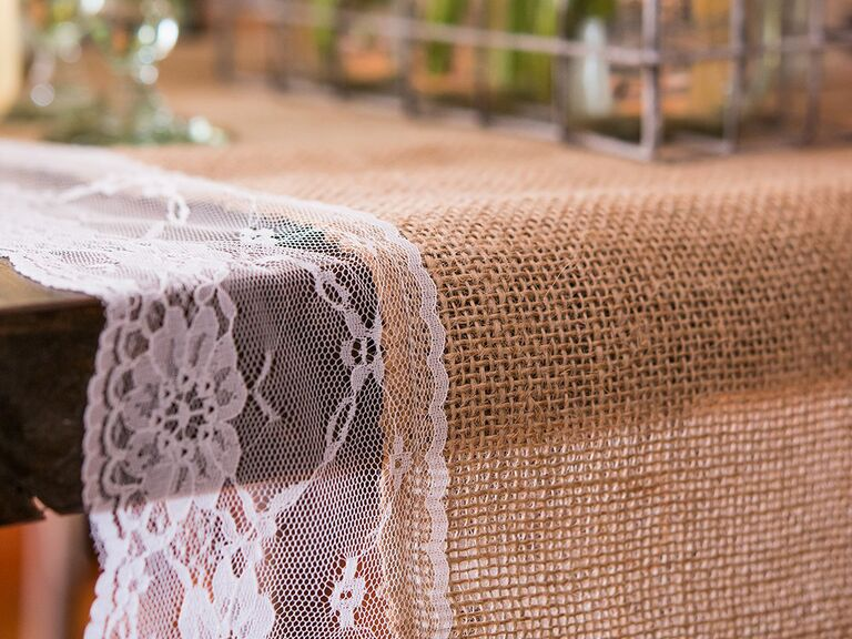 The Knot Shop natural burlap and lace table runner