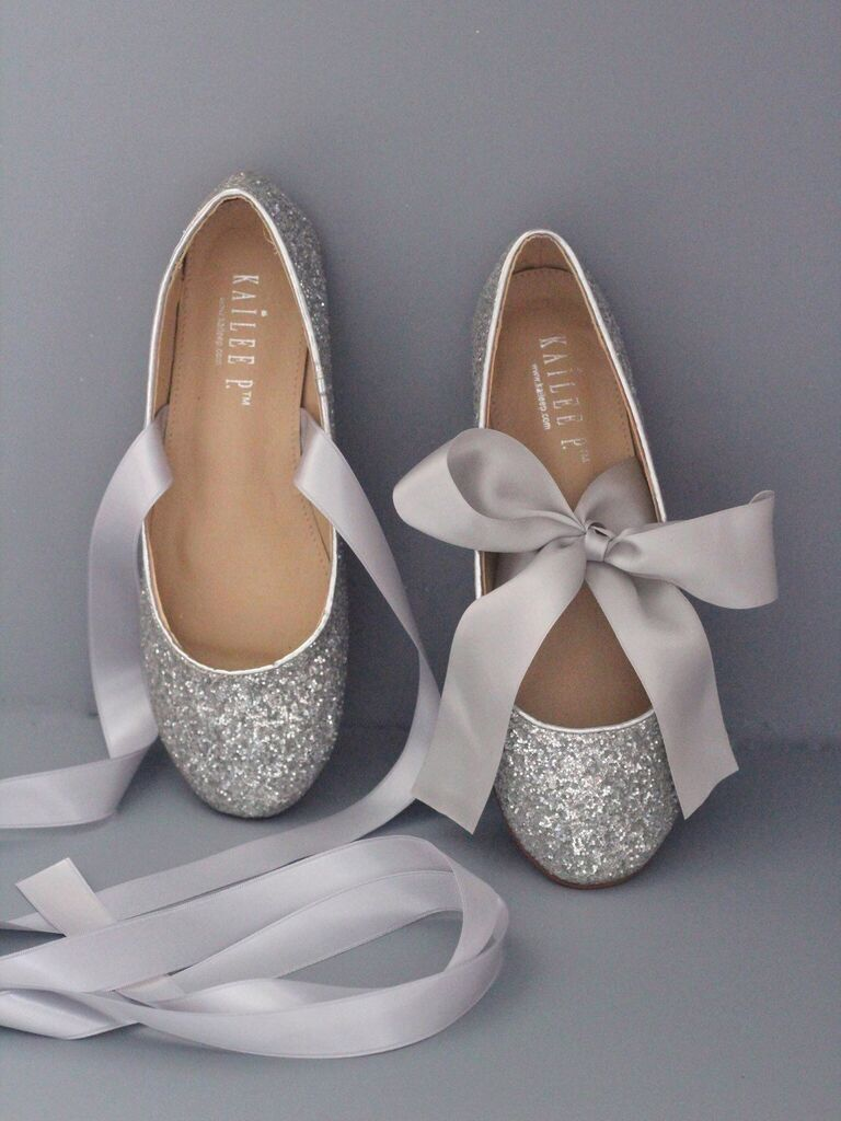 Silver bow sparkly wedding flats