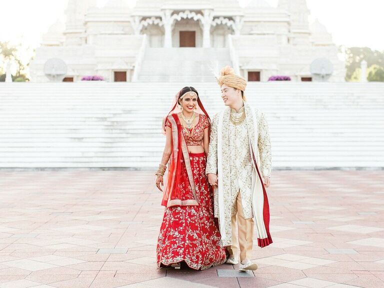 Couple walking and laughing together