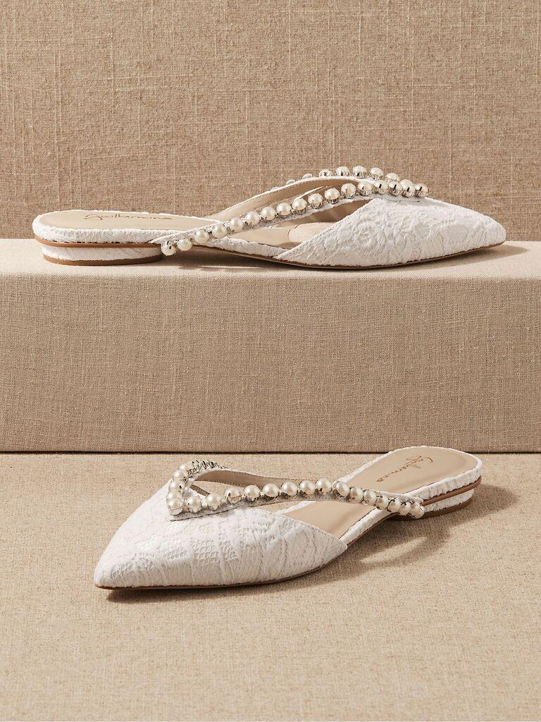 lace and pearl bridal flats