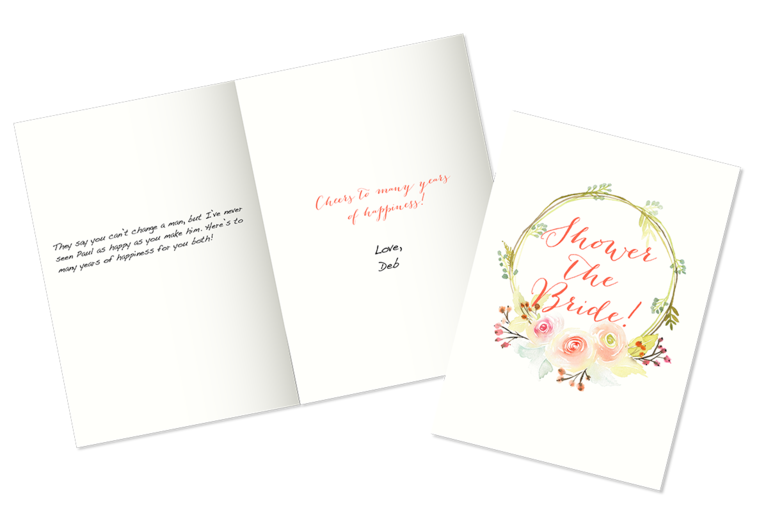 Example of what to write in a bridal shower card for you daughter-in-law