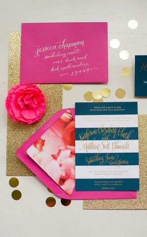 Preppy Navy, Gold and Fuchsia Stationery Suite