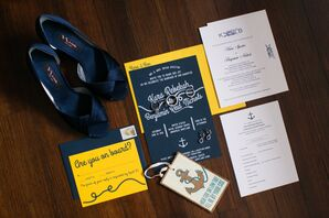 Navy and Gold Nautical Invitation Suite