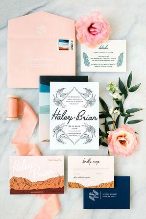Retro-Inspired Peach-and-Blue Invitation Suite