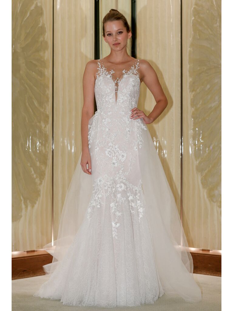Randy Fenoli Fall 2019 Bridal Collection tulle A-line wedding dress with illusion sleeveless neckline