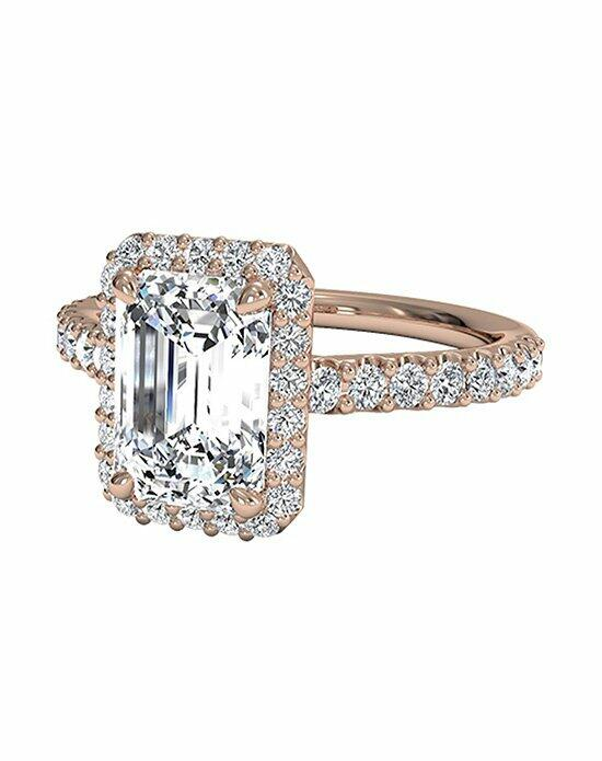 Ritani Emerald Cut French-Set Halo Diamond Band Engagement Ring in 18kt Rose Gold (0.45 CTW) Engagement Ring photo