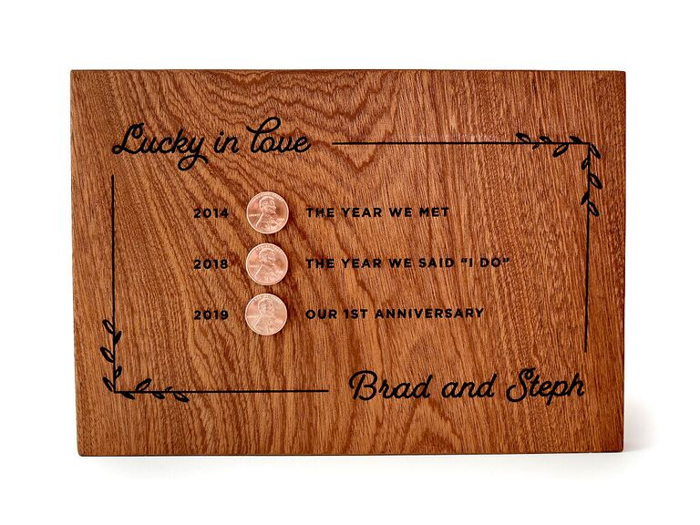 Handmade plaque with copper pennies